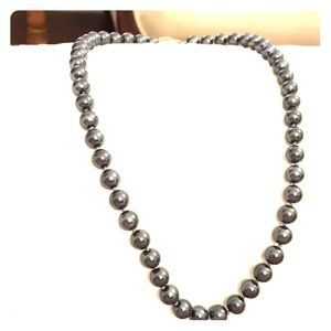 Talbots heavy glass gray or hematite 20 in pearls.